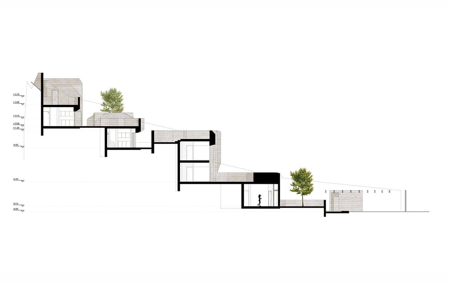 alt=corte de de las unidades habitacionales de vivienda unifamiliar