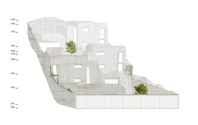 alt=elevación de los aterrazados de vivienda unifamiliar