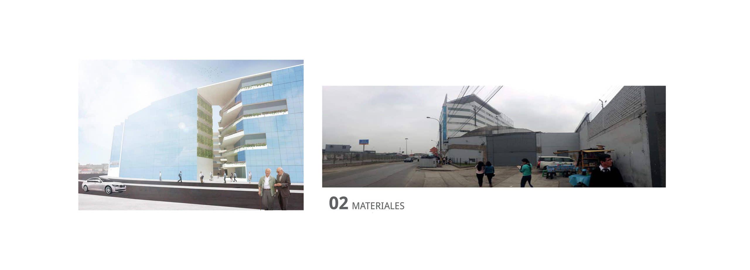 alt=imagen de los materiales del edificio de oficinas