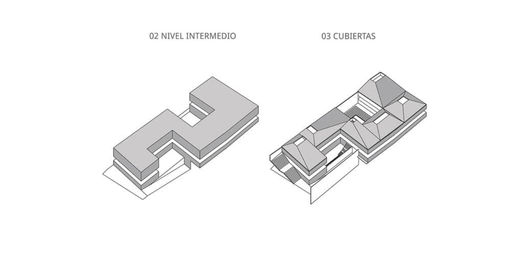 alt=esquema de niveles 2 de Centro Cultural WIÑAY AYNI MARKA