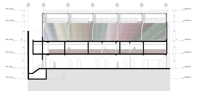 alt=corte vista techo de colores del mercado gastronómico