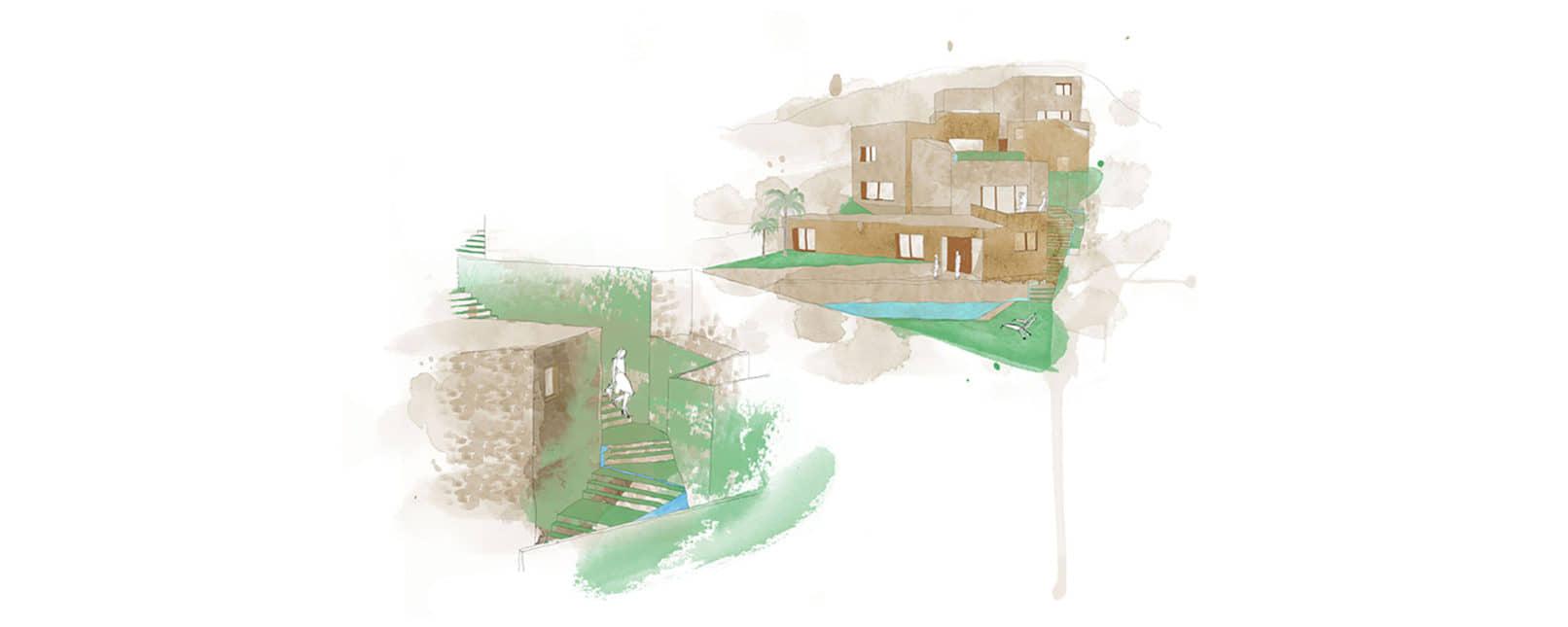 alt=acuarelas, viviendas camuflaje