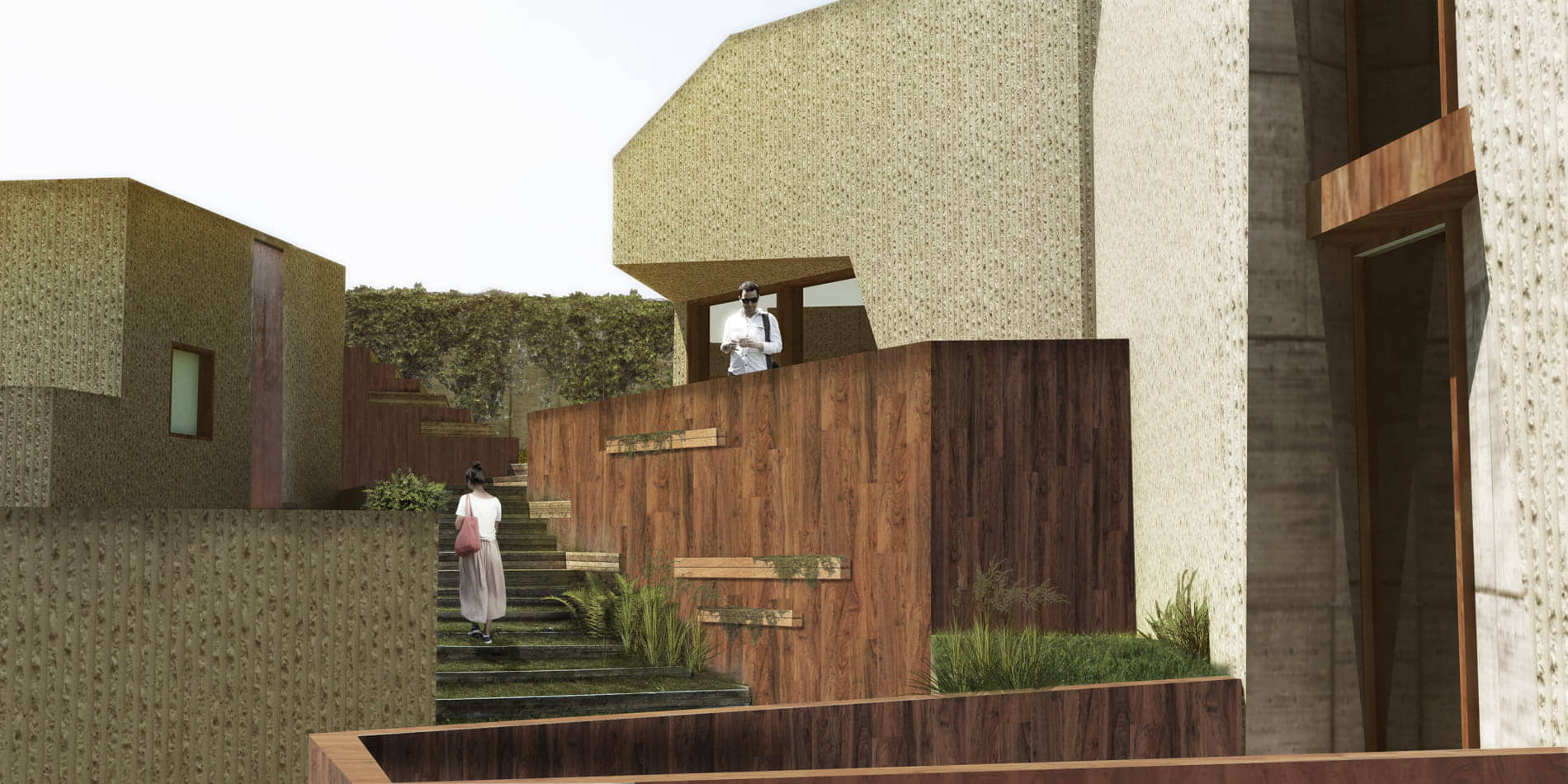 alt=vista de la subida a las viviendas camuflaje