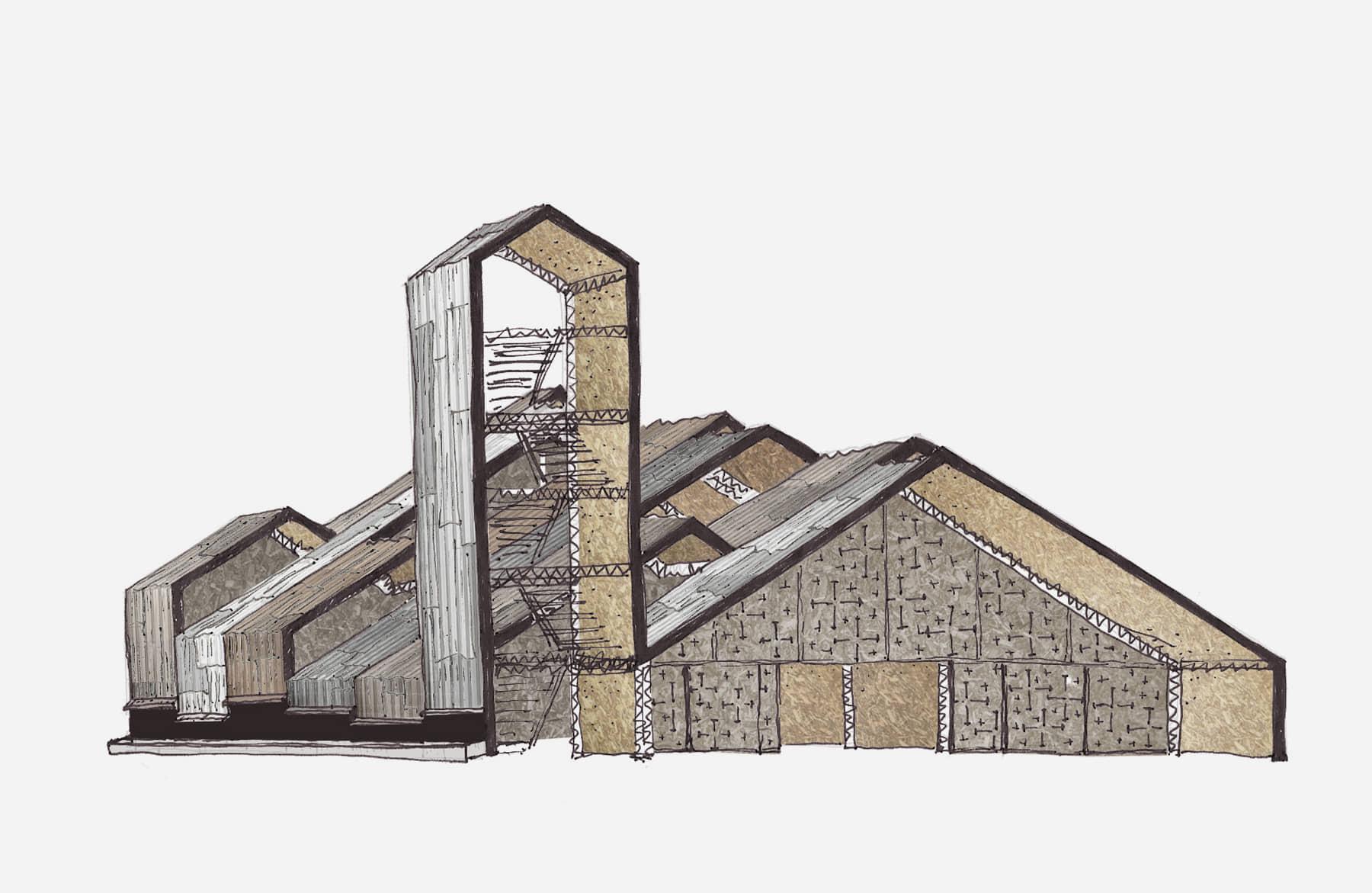 alt=dibujo de aberturas de la la iglesia en la selva de San Ramón