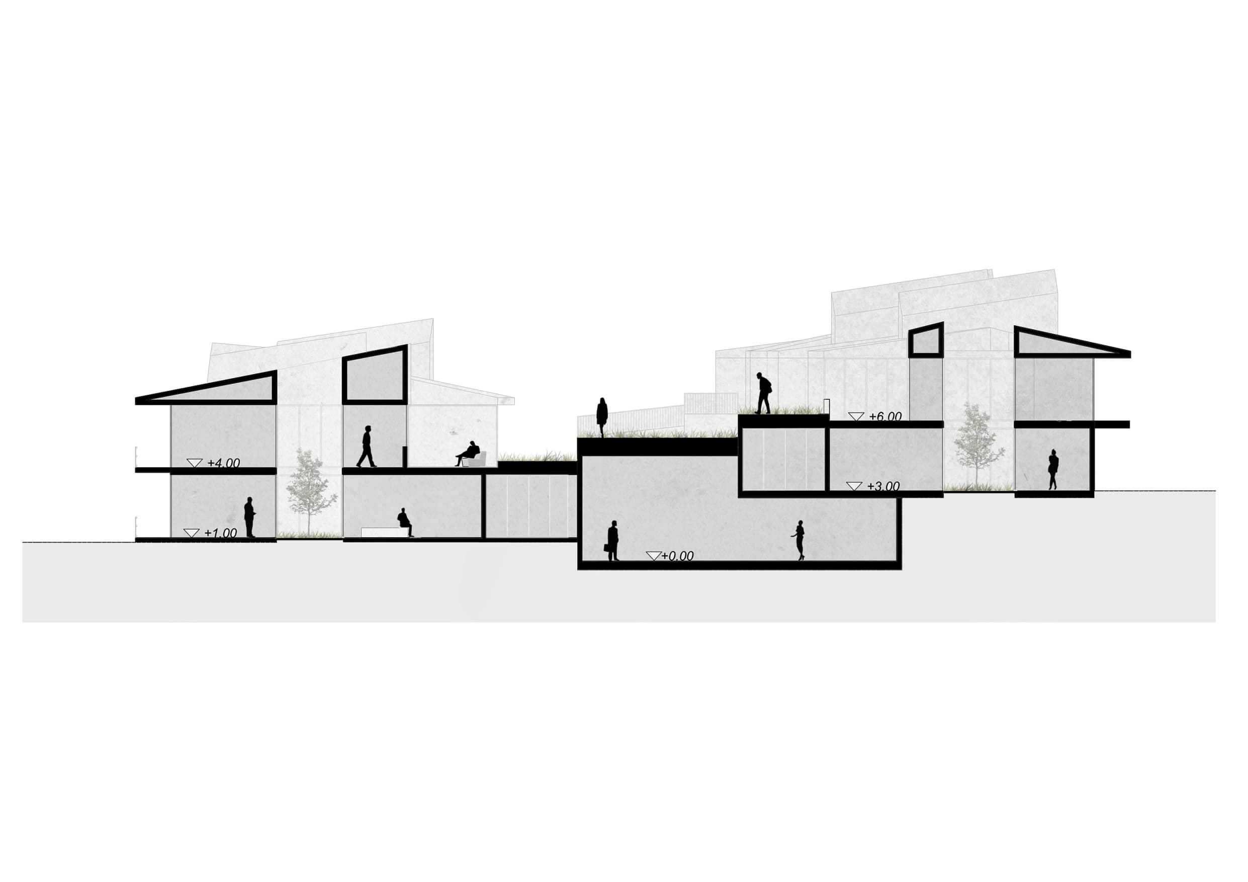 alt=corte de espacios de Viviendas Asistidas en Erustes