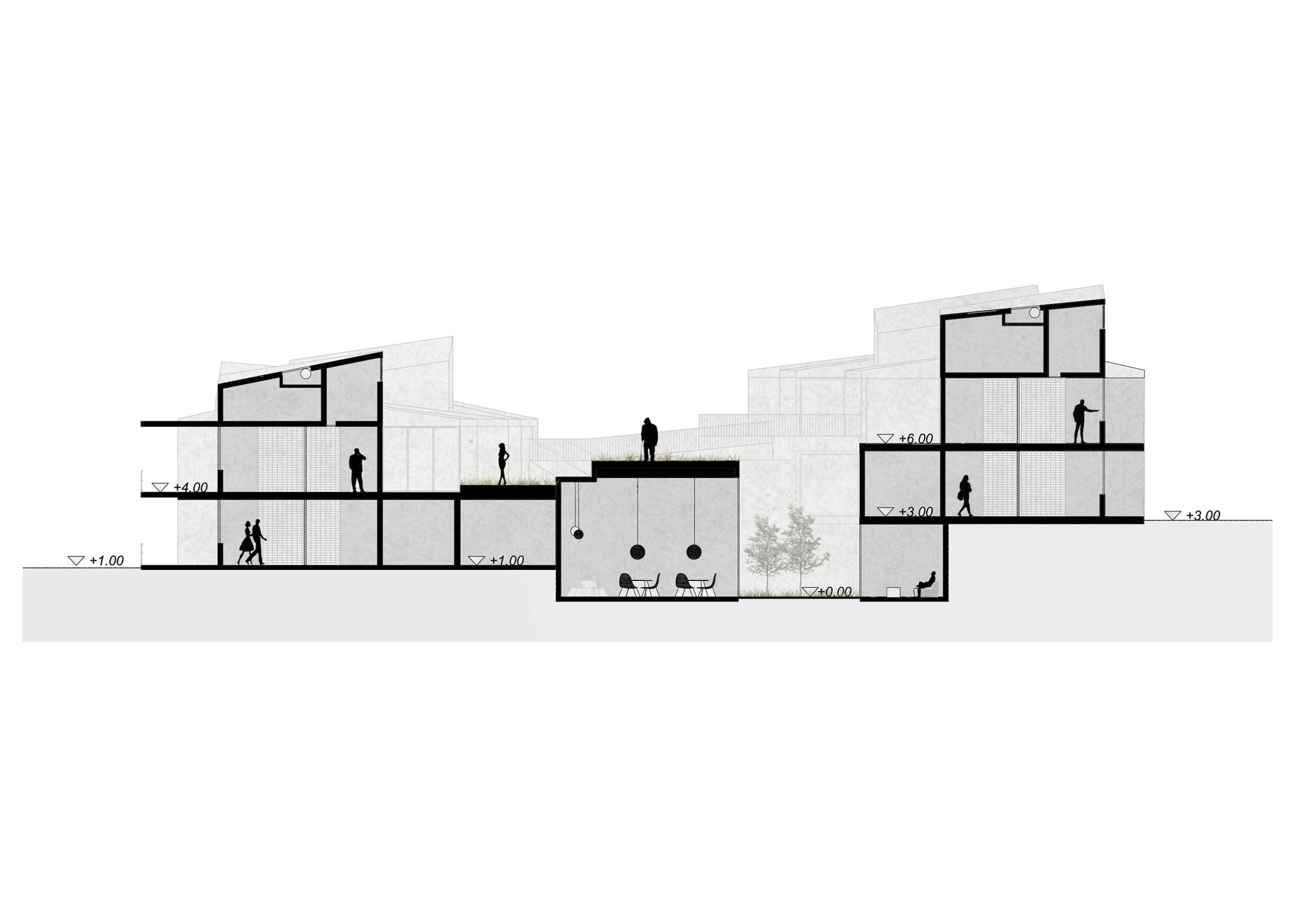 alt=corte de patios de Viviendas Asistidas en Erustes