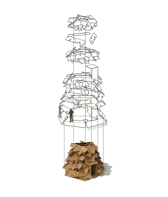 alt=axonometría del Refugio sostenible