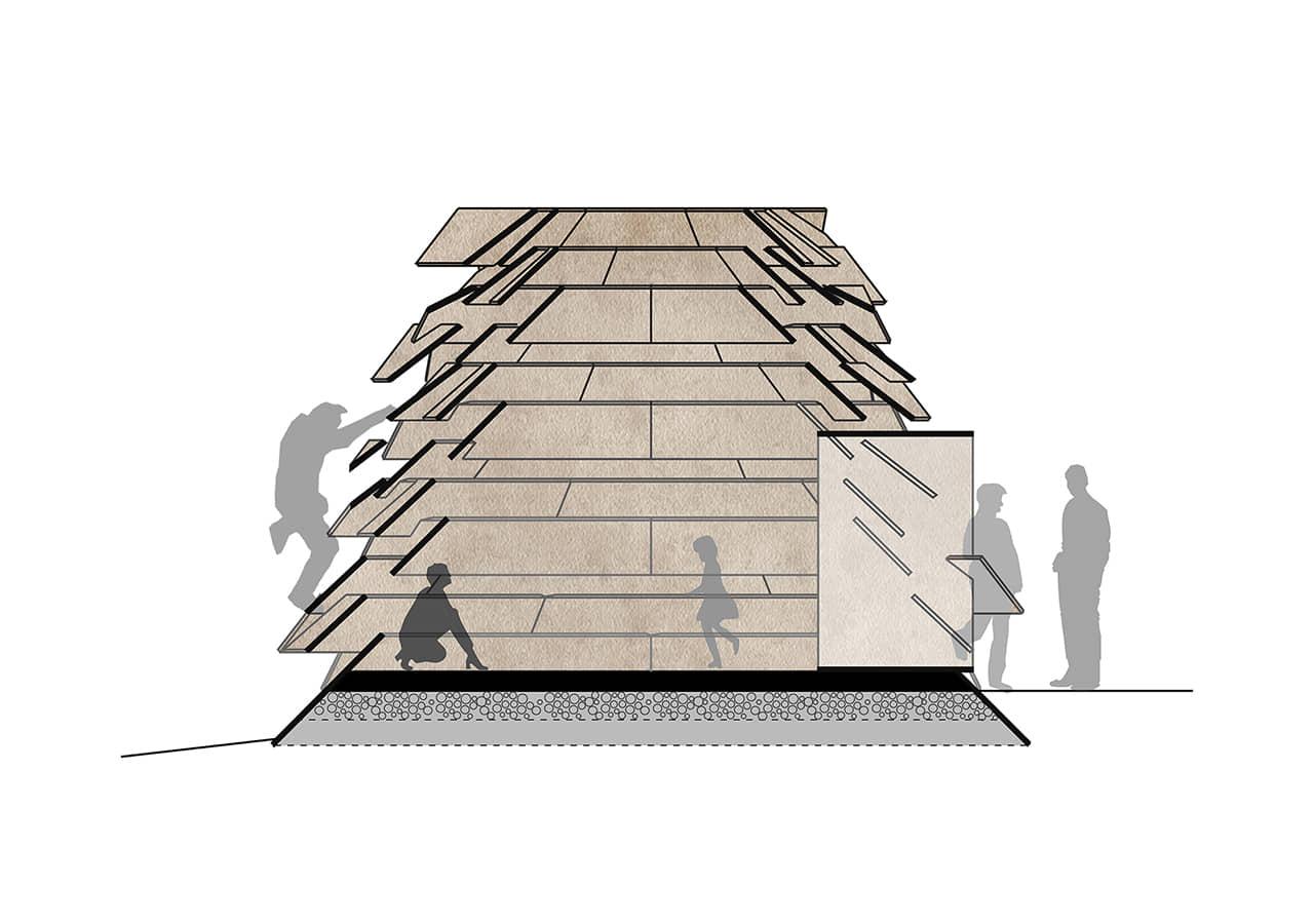 alt=corte del Refugio sostenible