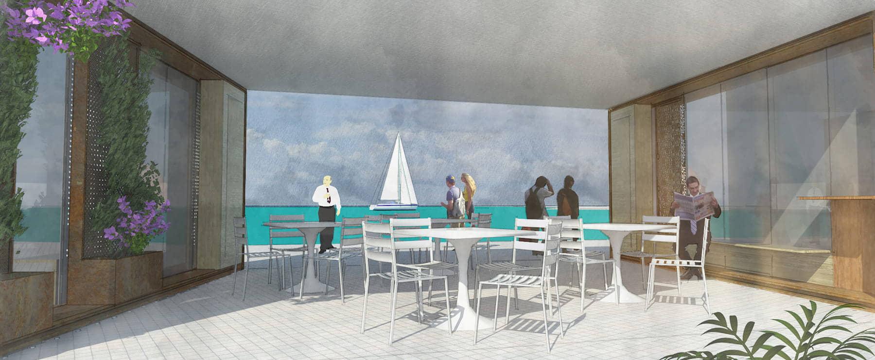 alt=vista interior 2 de terrazas contenidas del puerto marítimo