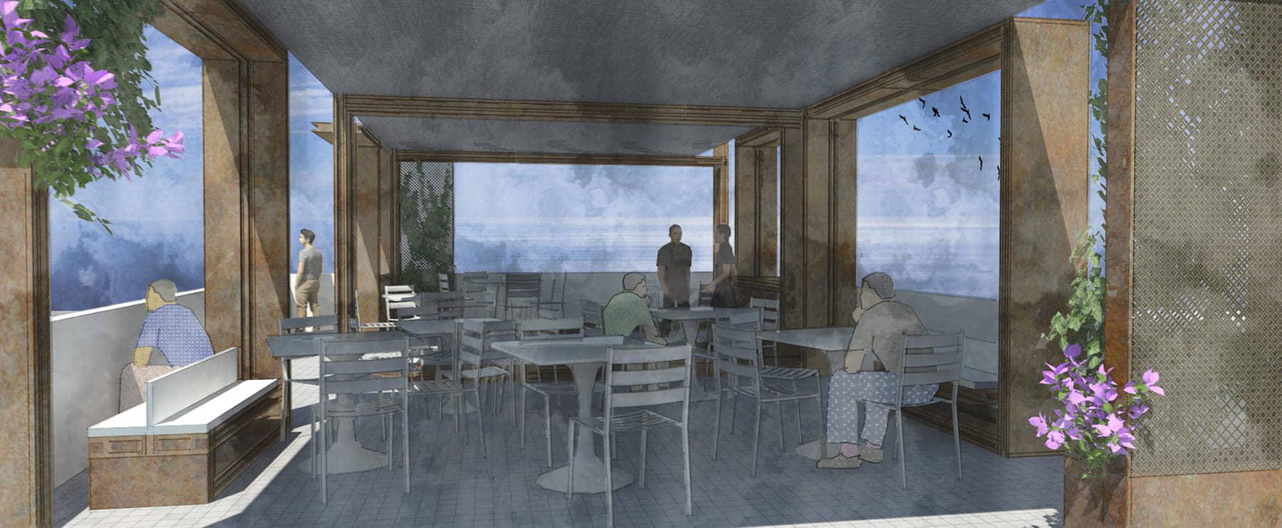 alt=vista interior 3 de terrazas contenidas del puerto marítimo