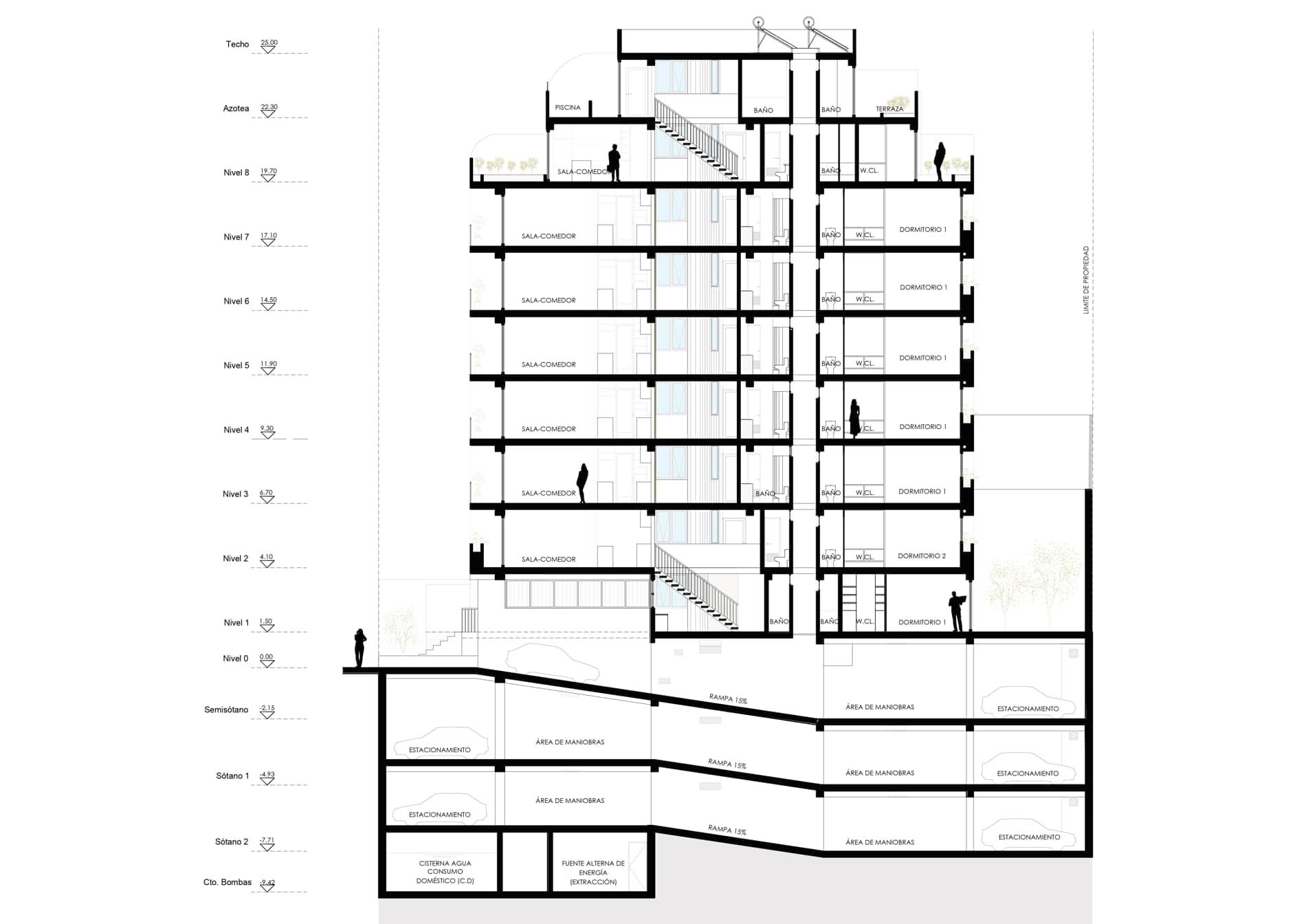 alt=Corte 2 de vivienda multifamiliar calle francia