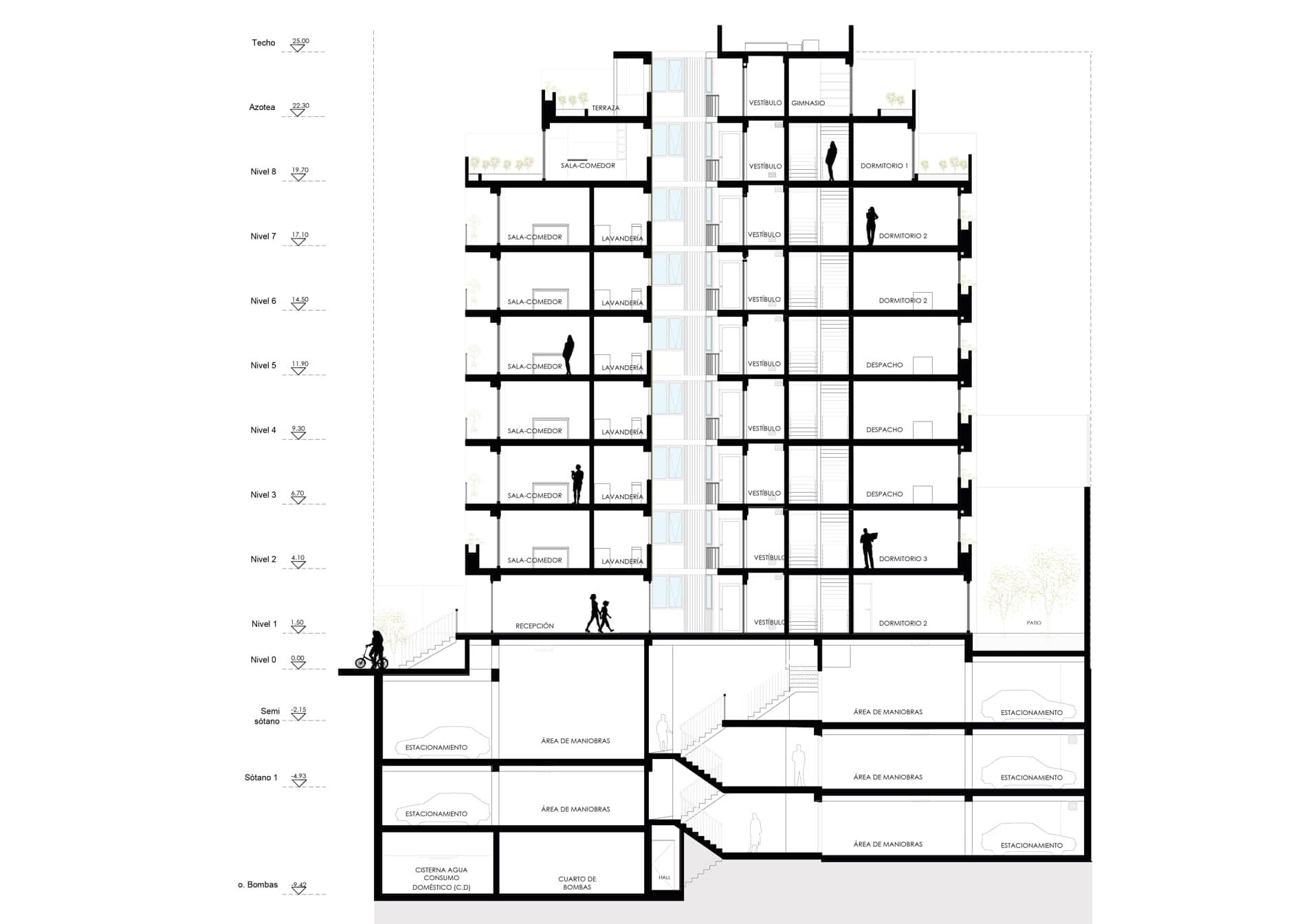 alt=Corte 1 de vivienda multifamiliar calle francia