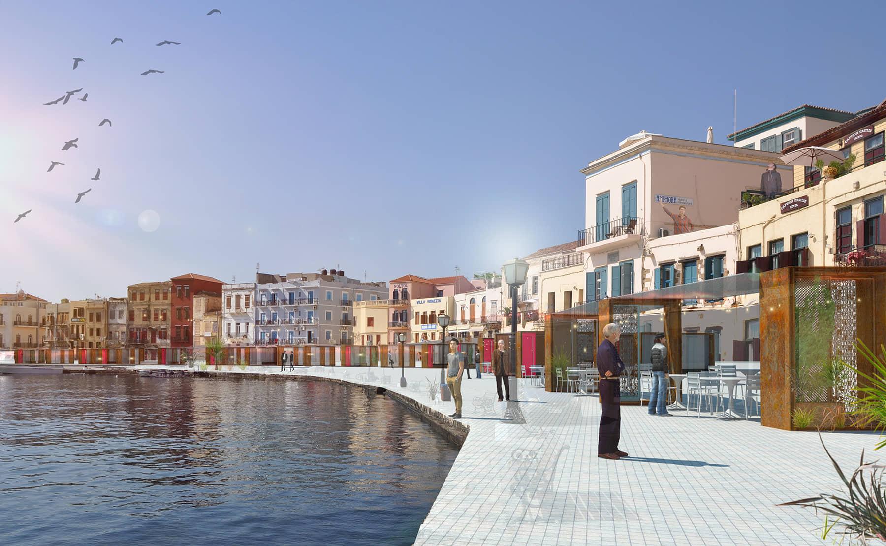alt=vista propuesta de terrazas contenidas del puerto marítimo